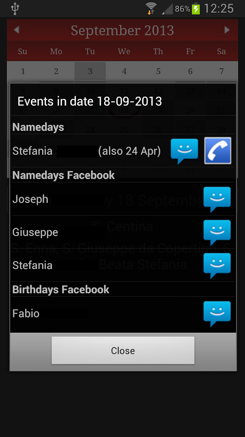 Namedays and Birthdays Lite - screenshot