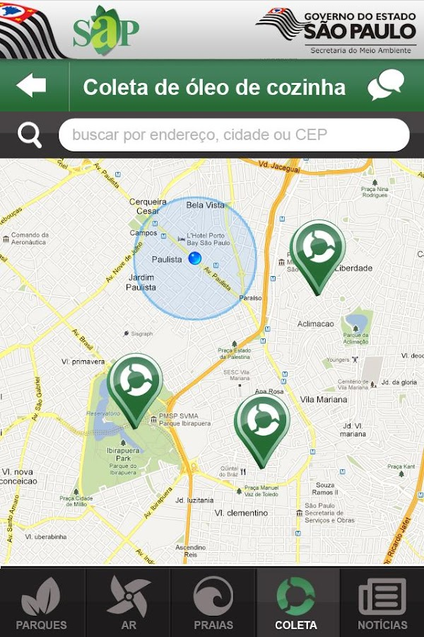 SAP Sistema Ambiental Paulista - screenshot