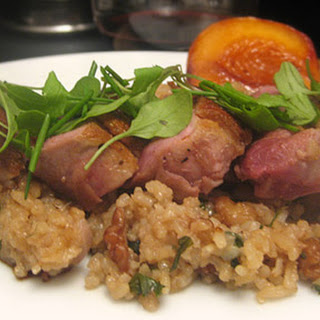 Duck Breast with Roasted Peaches and Walnut-Parsley Fried Rice