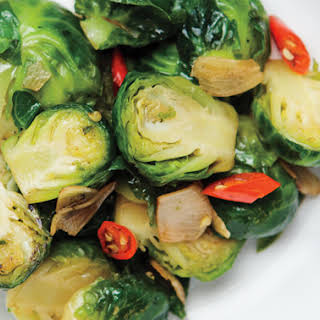 Stir-Fried Brussels Sprouts with Garlic and Chile.