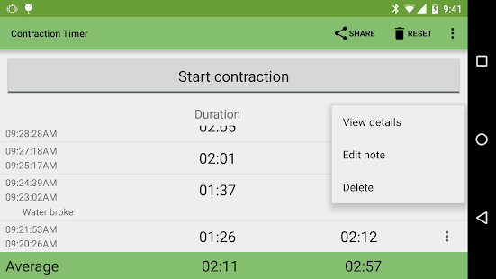 Contraction Timer Screenshot 3