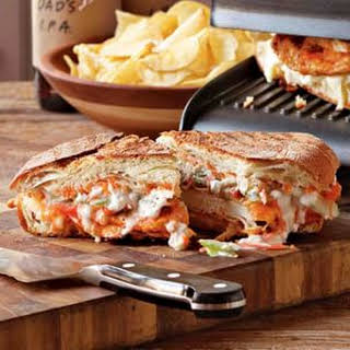Buffalo Chicken Panini with Blue Cheese-Celery Slaw.