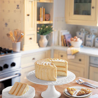 Triple-Layer White Cake with Orange Curd Filling and Frosting