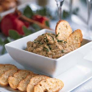 Spicy Eggplant Dip with Parmesan Toasts.