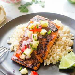 Blackened Salmon with Pineapple Salsa and Coconut Rice