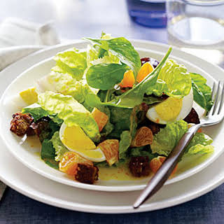 Red Butterhead Lettuce and Arugula Salad with Tangerines and Hard-Cooked Eggs.