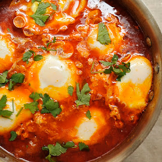 Moroccan Merguez Ragout with Poached Eggs.