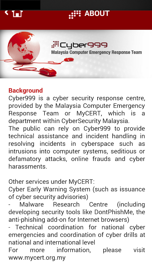 Cyber999 Mobile Application- screenshot