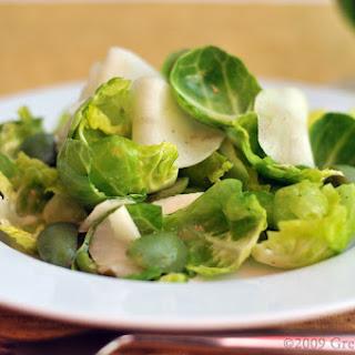 Brussels Sprout Leaf, Jerusalem Artichoke & Castelvetrano Olive Salad with Meyer Lemon Vinaigrette