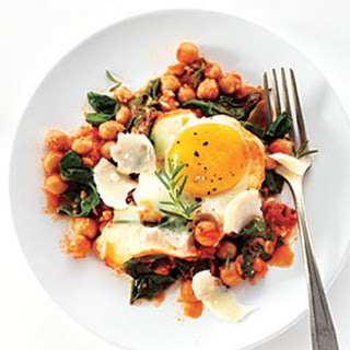 Eggs with Chickpeas, Spinach, and Tomato Recipe