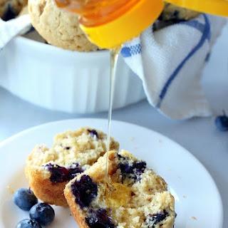 Healthy Greek Yogurt and Honey Blueberry Muffins.