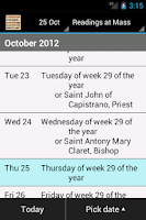 Screenshot of Catholic Calendar: Universalis
