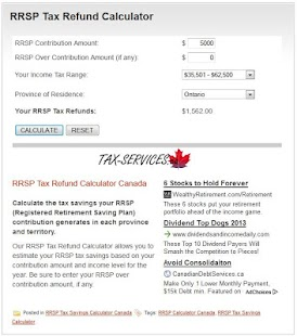 RRSP Tax Refund Calculator - screenshot thumbnail