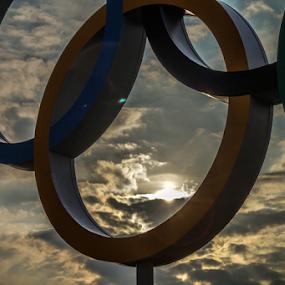 Olympic sunset  by Veronika Gallova - Buildings & Architecture Architectural Detail ( olympic, sun set, sunset, olympic sunset, rings, olympic rings, sun )