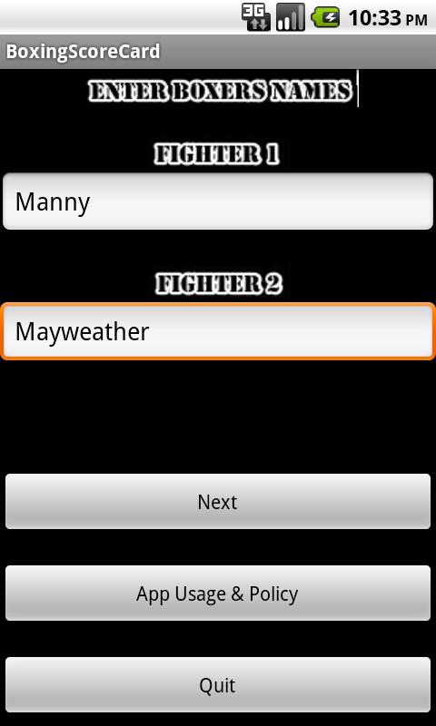 Boxing Score Card- screenshot