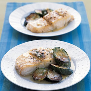 Roasted Halibut and Zucchini With Butter Sauce.