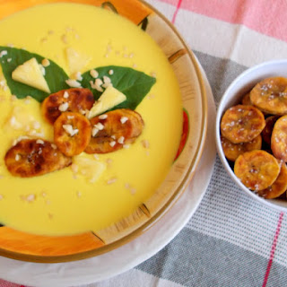 Tropical Gazpacho Served with Fried Ripe Plantains