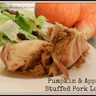 Pumpkin and Apple Stuffed Pork Loin - Featuring BBQ Pulled Pork Crock Pot Seasoning Mix.