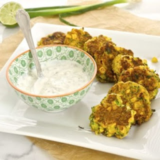 Zucchini and Roasted Corn Fritters with Cilantro JalapeñO Lime Greek Yogurt Recipe