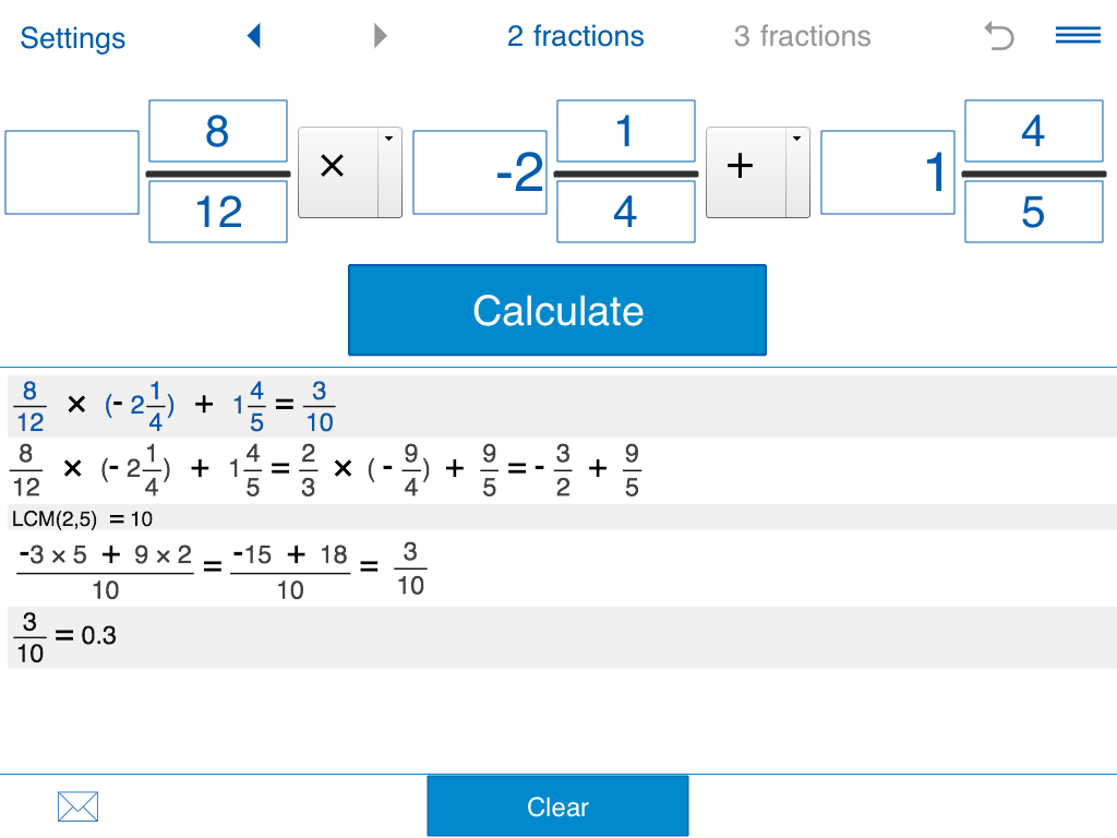 Fraction calculator- screenshot