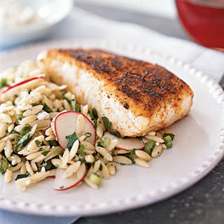 Blackened Halibut with Remoulade.