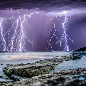 Denmark storm by Craig Eccles - Landscapes Weather ( thunder, lightning strike, lightning storm, lightning, thunder strike, rocks., weather, sea, ocean, thunder storm, thunder bolt, storm,  )