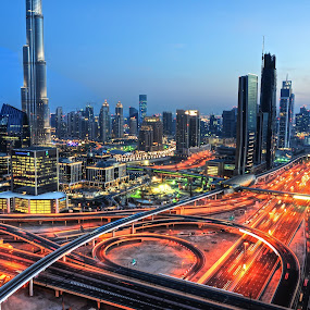 Dubai Magic by Sidharth Vithaldas - City,  Street & Park  Skylines ( mydubai, dubai, nightphotography, nikon, nikond5000 )