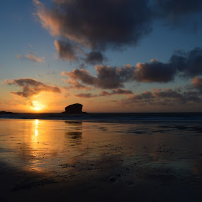 Sunset over Gull Rock by Lynnie Adams - Landscapes Sunsets & Sunrises ( sunset, summer, beach, seascape, cornwall,  )