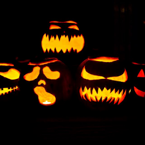 Carved Pumpkins by Danielle Falknor - Artistic Objects Other Objects ( lights, pumpkin, halloween photography, jack o lanterns, pumpkin carvings, halloween, carved )