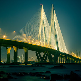 Bandra Worli Sea Link, Mumbai by Charanjit Singh - Buildings & Architecture Bridges & Suspended Structures ( lights, mumbai, worli sea link, india, night, bridge )