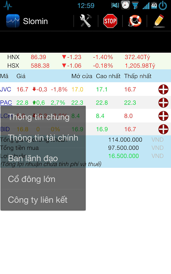 Viet stock notifications - screenshot