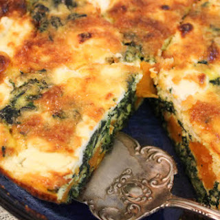 Crustless Sweet Potato and Goat Cheese Quiche.