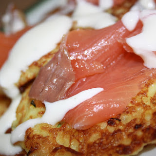 Potato Pancakes with Smoked Salmon and Yogurt Sauce.