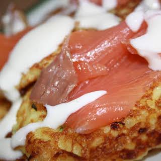 Potato Pancakes with Smoked Salmon and Yogurt Sauce.