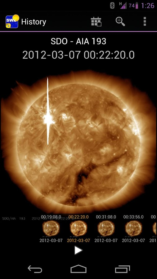 NASA Space Weather- screenshot