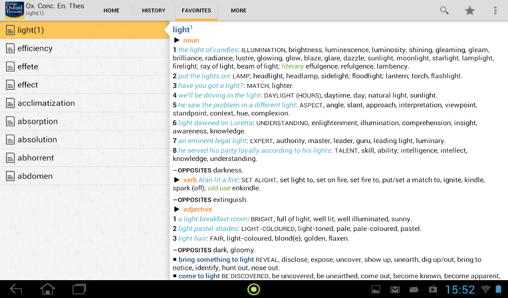 Concise Oxford Thesaurus - screenshot