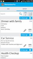 Screenshot of iPro Remember Past Activities