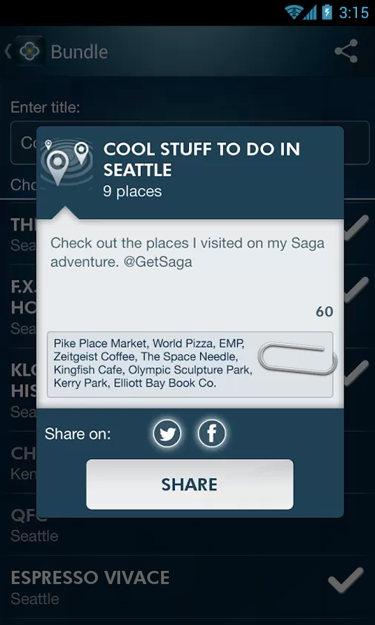 Saga — Automatic Lifelogging - screenshot