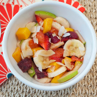Fruit Salad with Grapefruit Brulee and Toasted Coconut.
