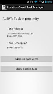 Location Based Task Reminder Screenshot