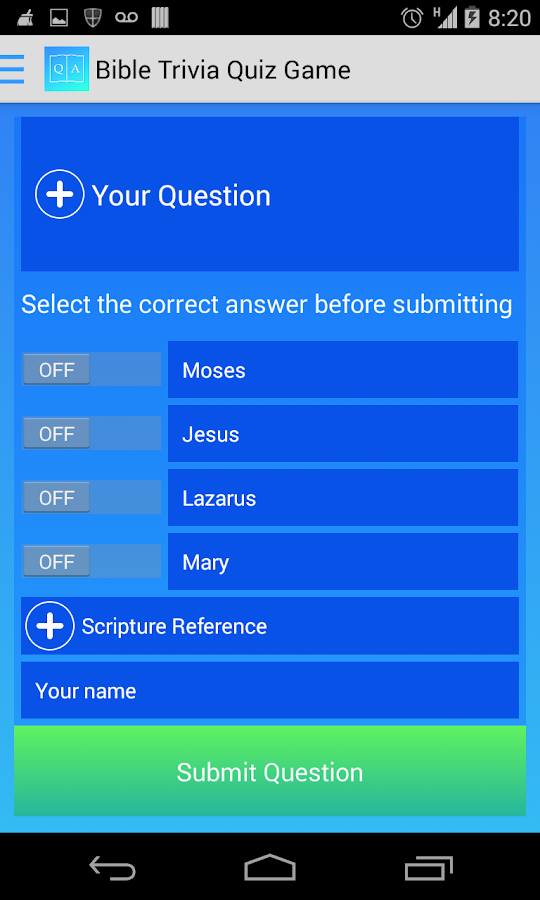 Free Bible Trivia Game - screenshot