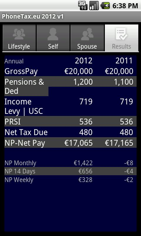 PhoneTax.eu Eire TaxCalc 2017- screenshot