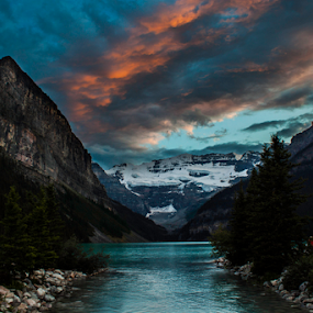Lake Louise  by Doug Clement - Landscapes Travel ( mountains, cloulds, nature, sunset, louise, lake,  )