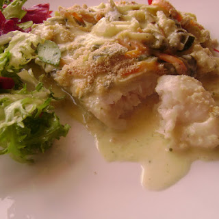 Bake Hake Loins and Vegetables in White Sauce