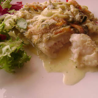 Bake Hake Loins and Vegetables in White Sauce.