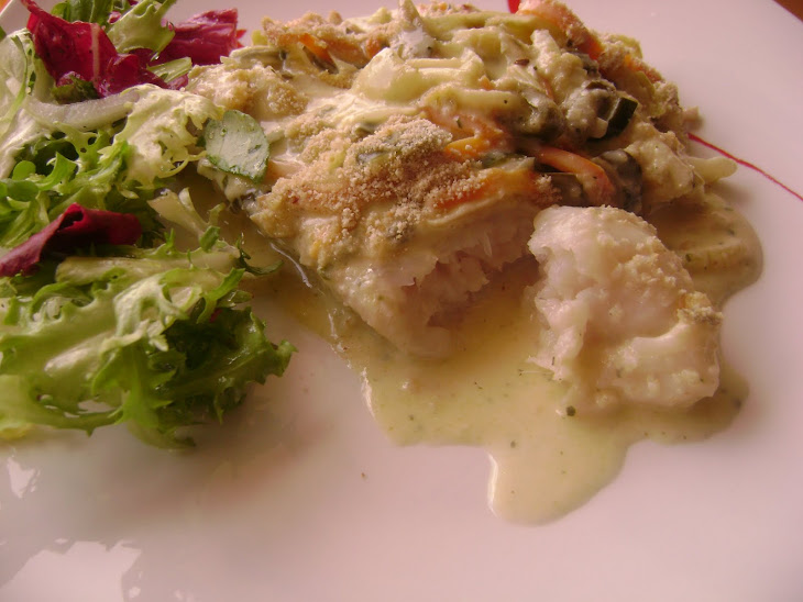 Bake Hake Loins and Vegetables in White Sauce Recipe