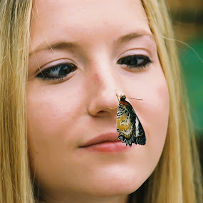 My Butterfly by Brenda Hooper - Animals Insects & Spiders ( butterfly, girl, insects, nose,  )