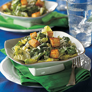 Creamy Caesar Salad with Spicy Croutons.