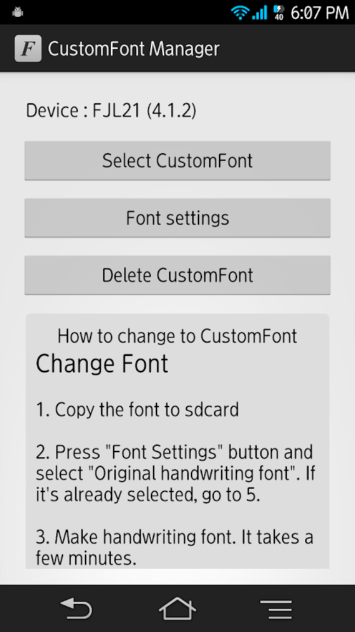 CustomFont Manager- screenshot