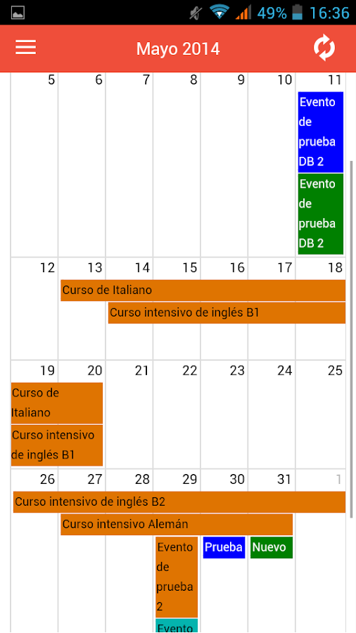 UGRcalendar- screenshot